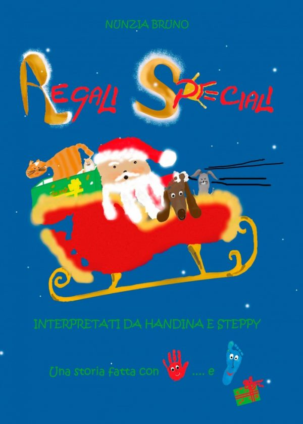 """Libro di Natale """"Regali Speciali"""", illustrato con le Impronte di Manine e Piedini."""