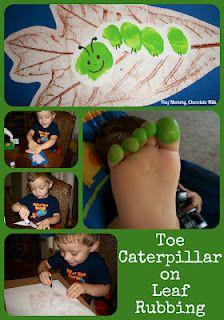 Un mimetico Bruco, realizzato usando le dita dei Piedini dei Bambini.