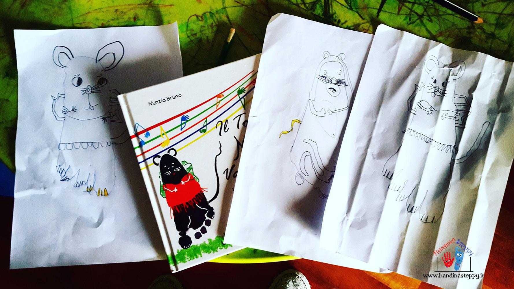 disegnare topolino-con-impronta-piede-bambino