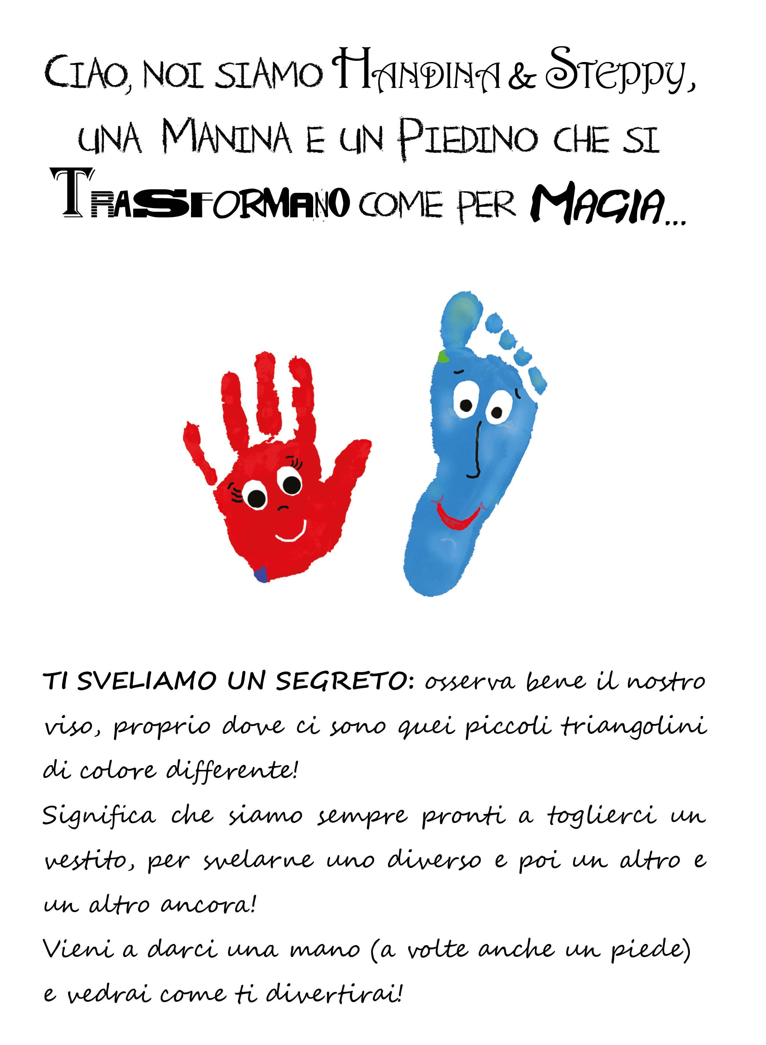 Album da colorare per Bambini a tema Invernale-Natalizio della collana Handina & Steppy. Illustrato con Impronte di Manine e Piedini in trasformazione.